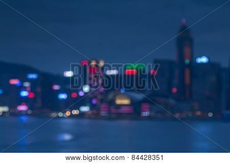 Blur bokeh light, Hong Kong Harbour at sunset