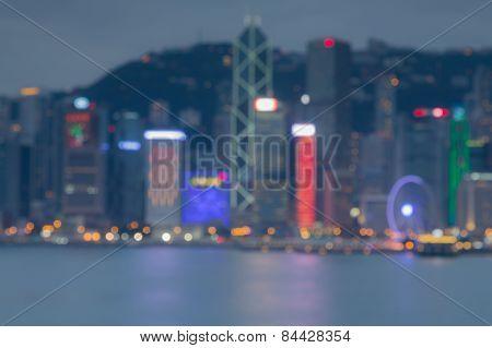 Harbour night lights of Hongkong City