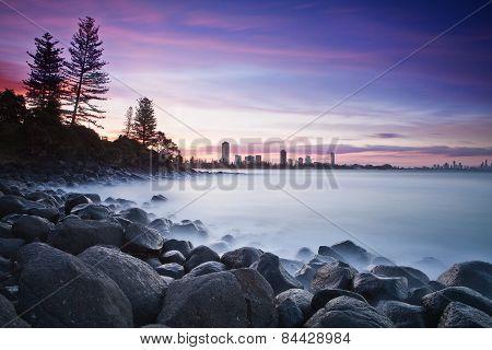 Burleigh point on the Gold Coast of Australia.