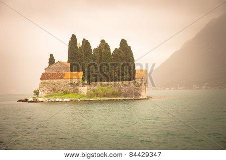 Panoramic View Of Medieval City Of Perast. Mediterranean Of Adriatic Riviera