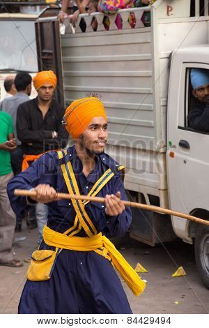 Delhi, India - November 5: Unidentified Man Demostraits His Skills At Guru Nanak Gurpurab Celebratio