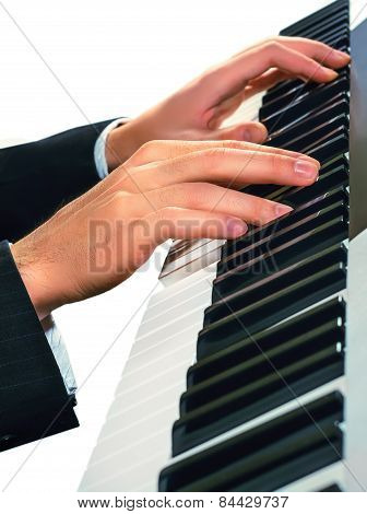 Hands Of Musician. Pianist Playing On A Synthesizer, Isolated On A White