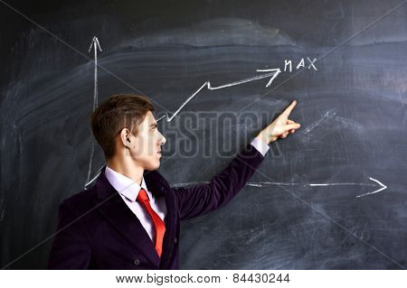 Man showing on the chalkboard