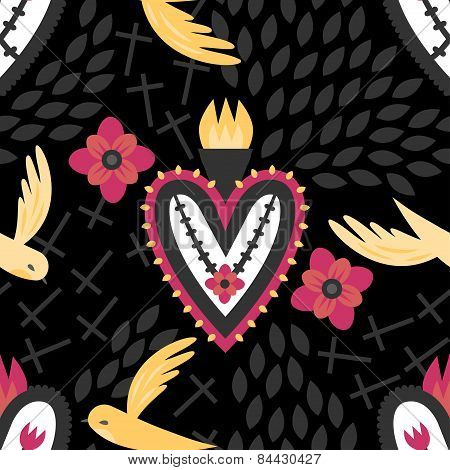 Mexican Sacred Heart Pattern