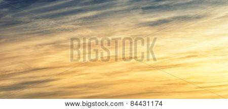 Evening Cloudscape With Wispy White Cirrus Clouds