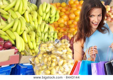 Woman, Shopping, Vegetables And Fruits