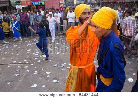 Delhi, India - November 5: Unidentified Men Take Part In Guru Nanak Gurpurab Celebration On November