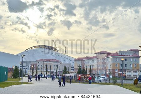People walking in Olympic park in Sochi, Russia