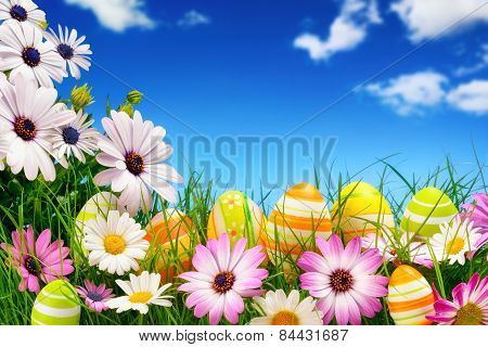 Easter Eggs, Flowers And The Blue Sky