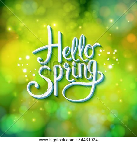 Hello Spring sparkling green card design