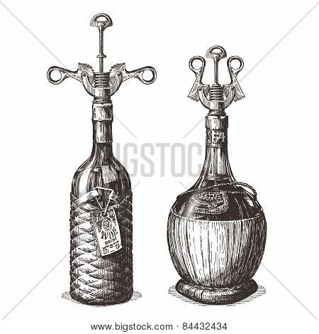 bottle of wine vector logo design template. alcohol drink or corkscrew icon.