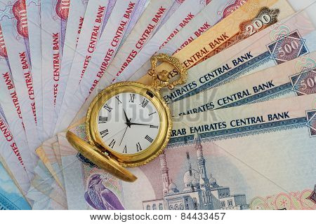 Uae Currency Dirhams With Golden Antique Watch