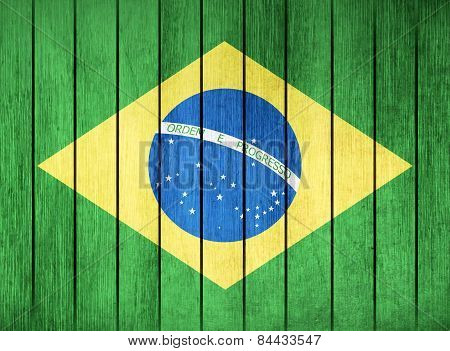 Wooden Flag Of Brazil