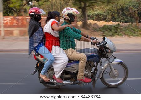 Delhi, India - November 5: Unidentified People Ride Motorcycle (blurred Motion) On November 5, 2014
