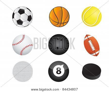 Sports Balls Equipment Icon Set Illustration