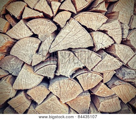 Background Or Texture Made Of Firewood.