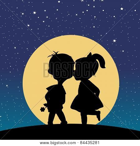 Silhouette Of A Boy And A Girl Kissing In The Moonlight
