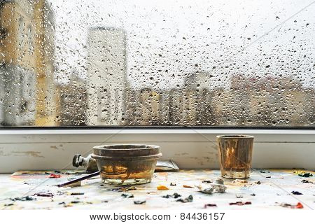 Rain At The Behind The Window