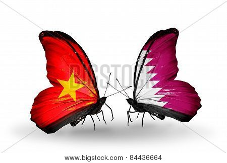 Two Butterflies With Flags On Wings As Symbol Of Relations Vietnam And Qatar