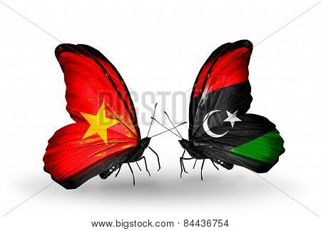 Two Butterflies With Flags On Wings As Symbol Of Relations Vietnam And Libya