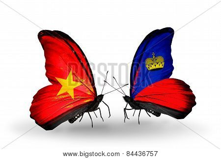 Two Butterflies With Flags On Wings As Symbol Of Relations Vietnam And Liechtenstein