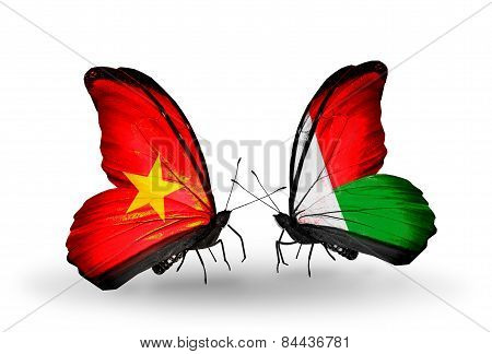 Two Butterflies With Flags On Wings As Symbol Of Relations Vietnam And Madagascar
