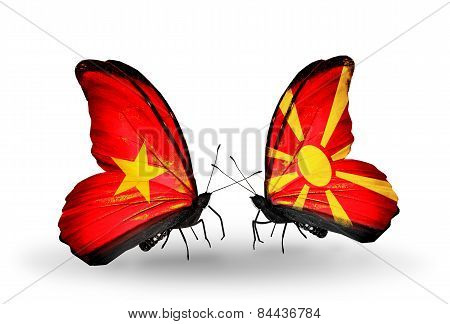 Two Butterflies With Flags On Wings As Symbol Of Relations Vietnam And Macedonia