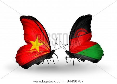 Two Butterflies With Flags On Wings As Symbol Of Relations Vietnam And Malawi