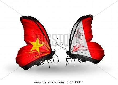 Two Butterflies With Flags On Wings As Symbol Of Relations Vietnam And Malta