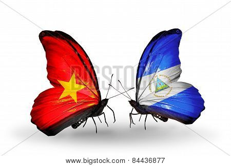 Two Butterflies With Flags On Wings As Symbol Of Relations Vietnam And Nicaragua