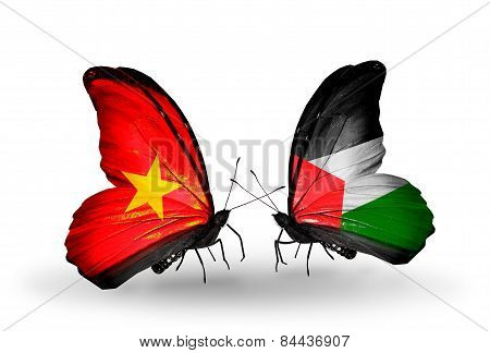 Two Butterflies With Flags On Wings As Symbol Of Relations Vietnam And Palestine