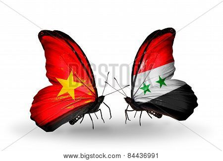 Two Butterflies With Flags On Wings As Symbol Of Relations Vietnam And Syria