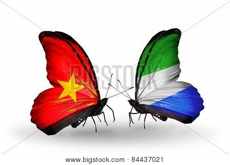 Two Butterflies With Flags On Wings As Symbol Of Relations Vietnam And Sierra Leone