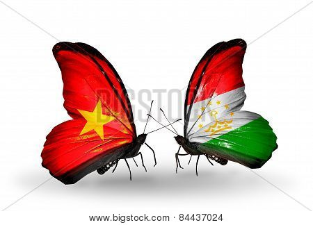 Two Butterflies With Flags On Wings As Symbol Of Relations Vietnam And Tajikistan
