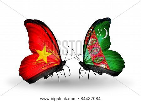 Two Butterflies With Flags On Wings As Symbol Of Relations Vietnam And Turkmenistan