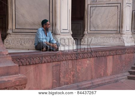Delhi, India - November 5: Unidentified Man Sits At Jama Masjid On November 5, 2014 In Delhi, India.