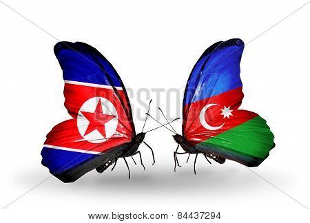 Two Butterflies With Flags On Wings As Symbol Of Relations North Korea And Azerbaijan