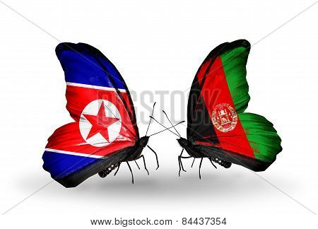 Two Butterflies With Flags On Wings As Symbol Of Relations North Korea And Afghanistan