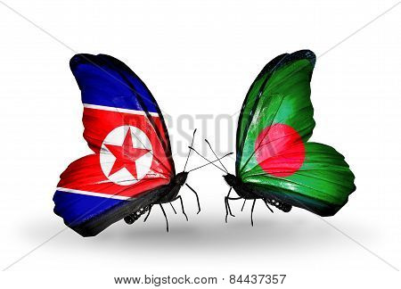 Two Butterflies With Flags On Wings As Symbol Of Relations North Korea And Bangladesh