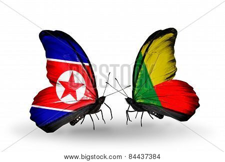Two Butterflies With Flags On Wings As Symbol Of Relations North Korea And Benin