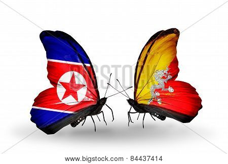 Two Butterflies With Flags On Wings As Symbol Of Relations North Korea And Bhutan