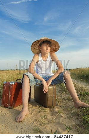 Teenage Traveler Hoping And Waiting