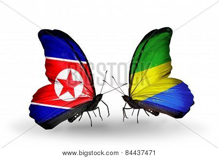 Two Butterflies With Flags On Wings As Symbol Of Relations North Korea And Gabon