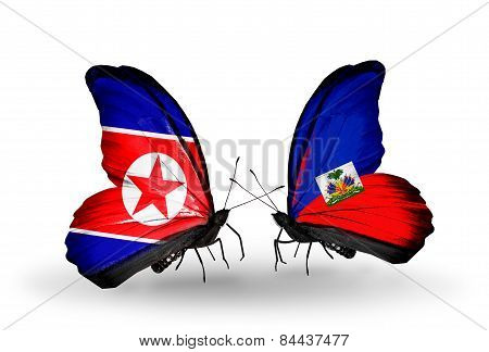Two Butterflies With Flags On Wings As Symbol Of Relations North Korea And Haiti