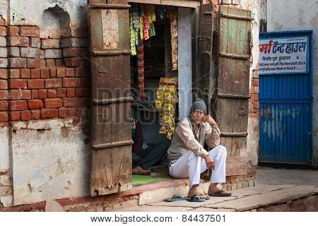 Indian Market Vendor In Local Street Shop