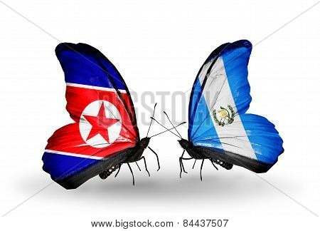 Two Butterflies With Flags On Wings As Symbol Of Relations North Korea And Guatemala