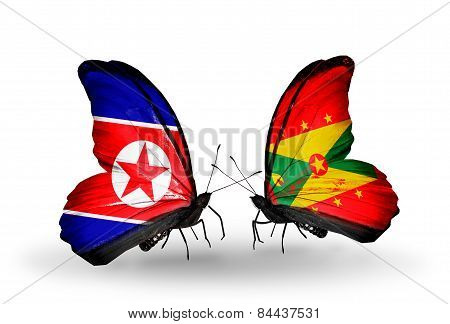 Two Butterflies With Flags On Wings As Symbol Of Relations North Korea And Grenada