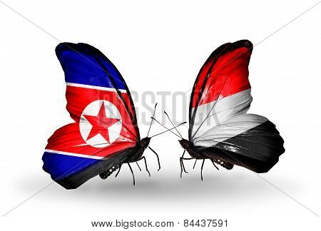 Two Butterflies With Flags On Wings As Symbol Of Relations North Korea And  Yemen