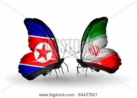 Two Butterflies With Flags On Wings As Symbol Of Relations North Korea And  Iran