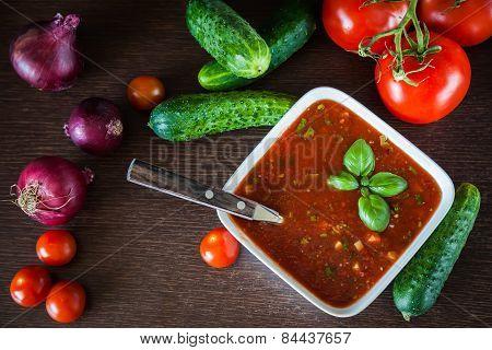 Top View Of Gazpacho Ingredients